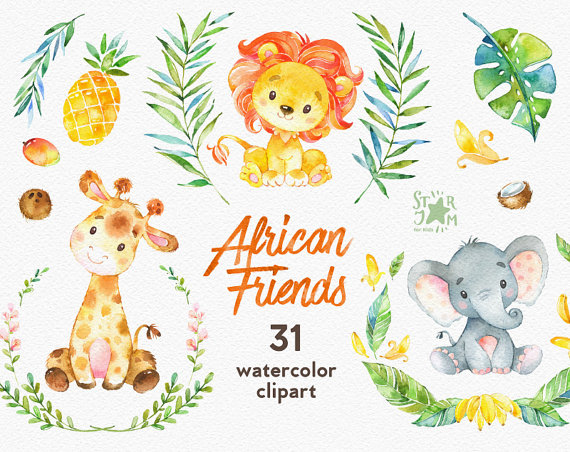 Woodland Friends 3 Watercolor Animals Clipart Fox Forest Deer