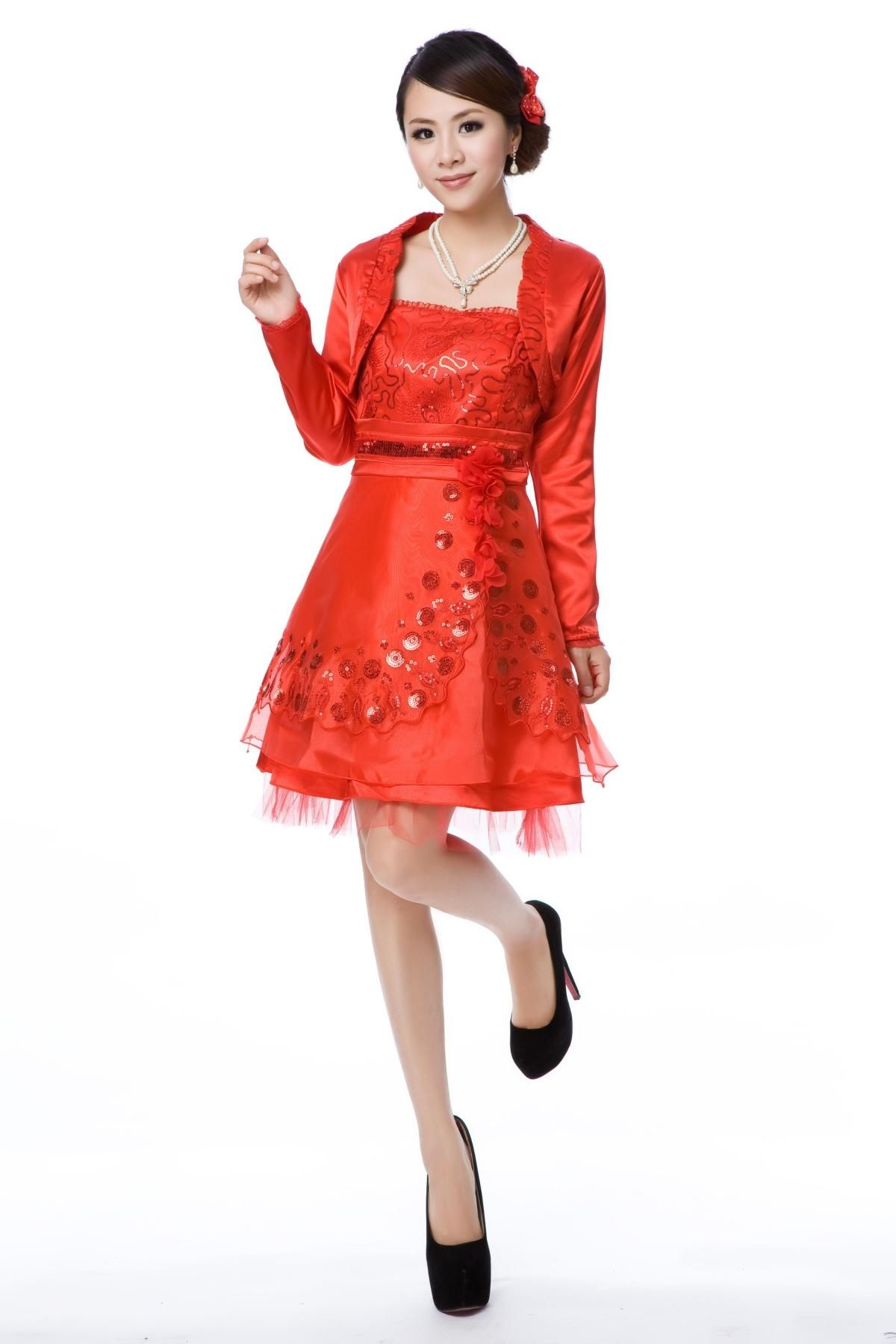 Bride dress toast clothing spring and summer red shortsleeved