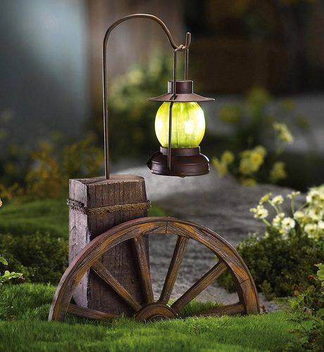Rustic Solar Wagon Wheel W Lantern Path Light Garden Outdoor Yard
