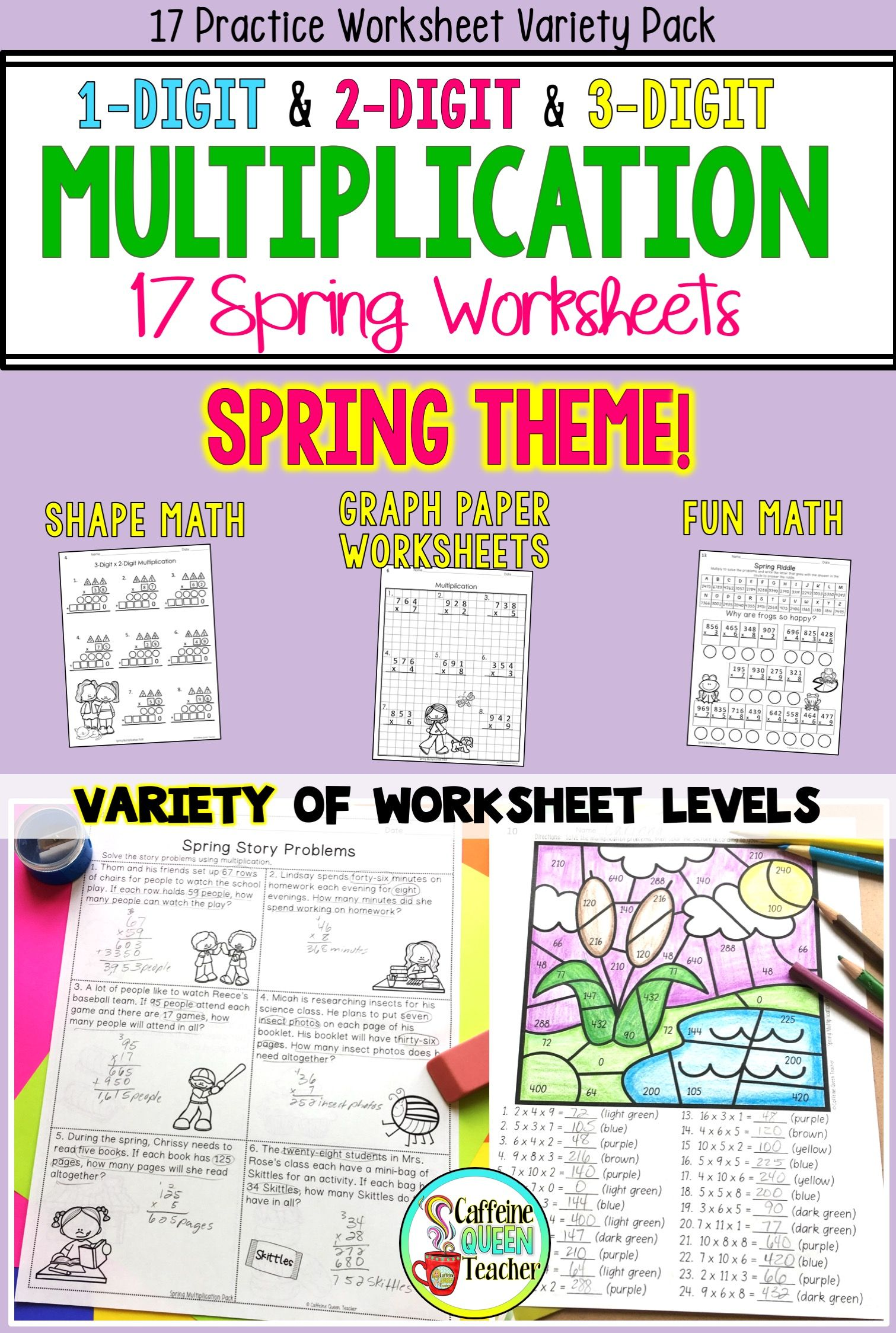 Spring Multiplication Packet 17 Different Worksheet Variety Pack Engaging Fun Practice For 3rd Grad Upper Elementary Math Basic Math Skills Elementary Math [ 2249 x 1511 Pixel ]