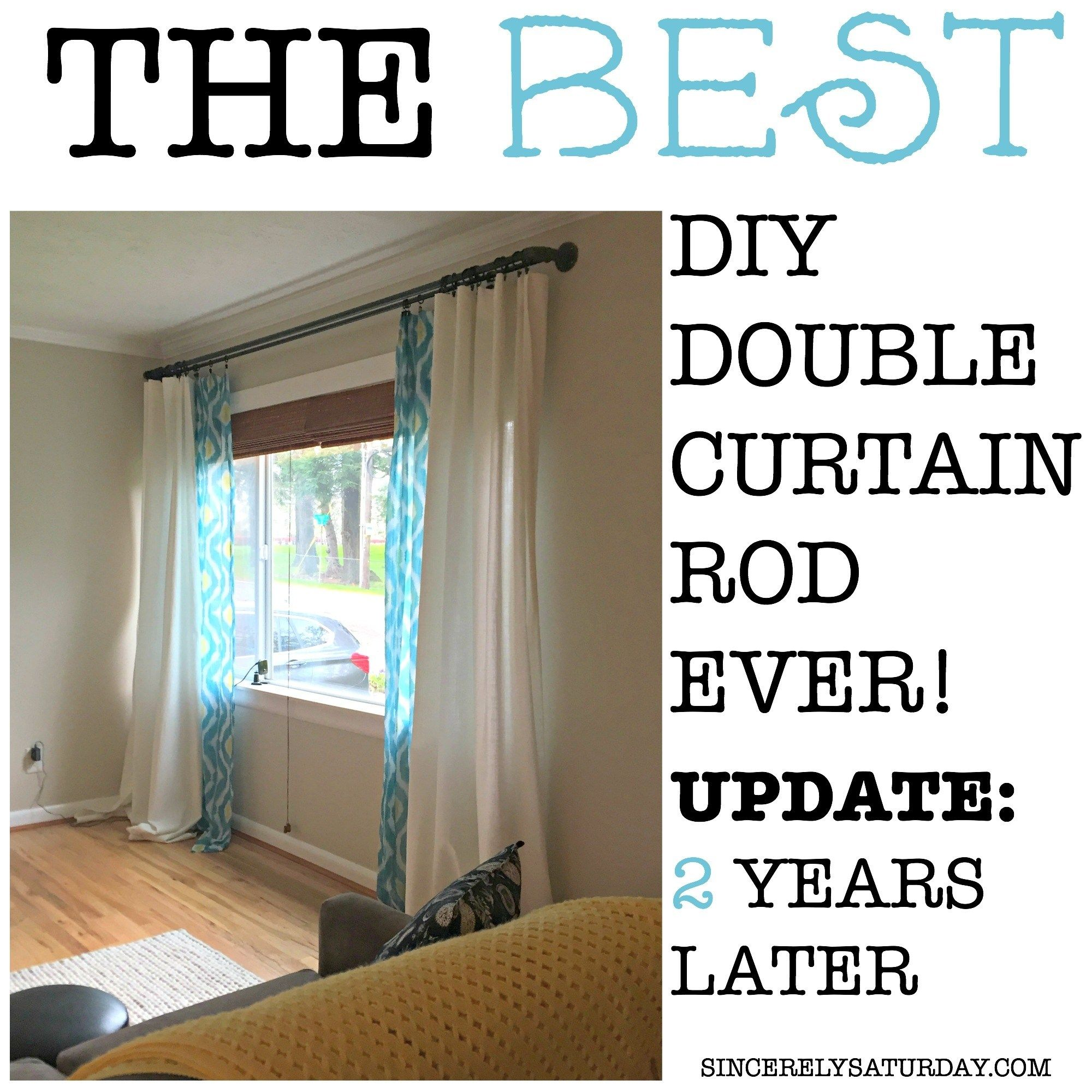 Best Diy Double Curtain Rod Ever 2 Years Later Double Rod