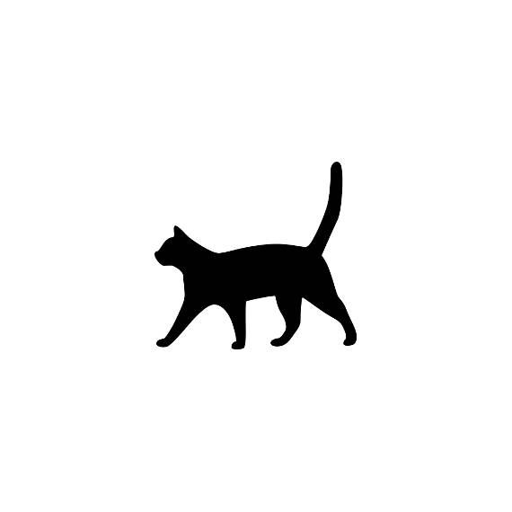 Silhouette cat mini rubber stamp P5