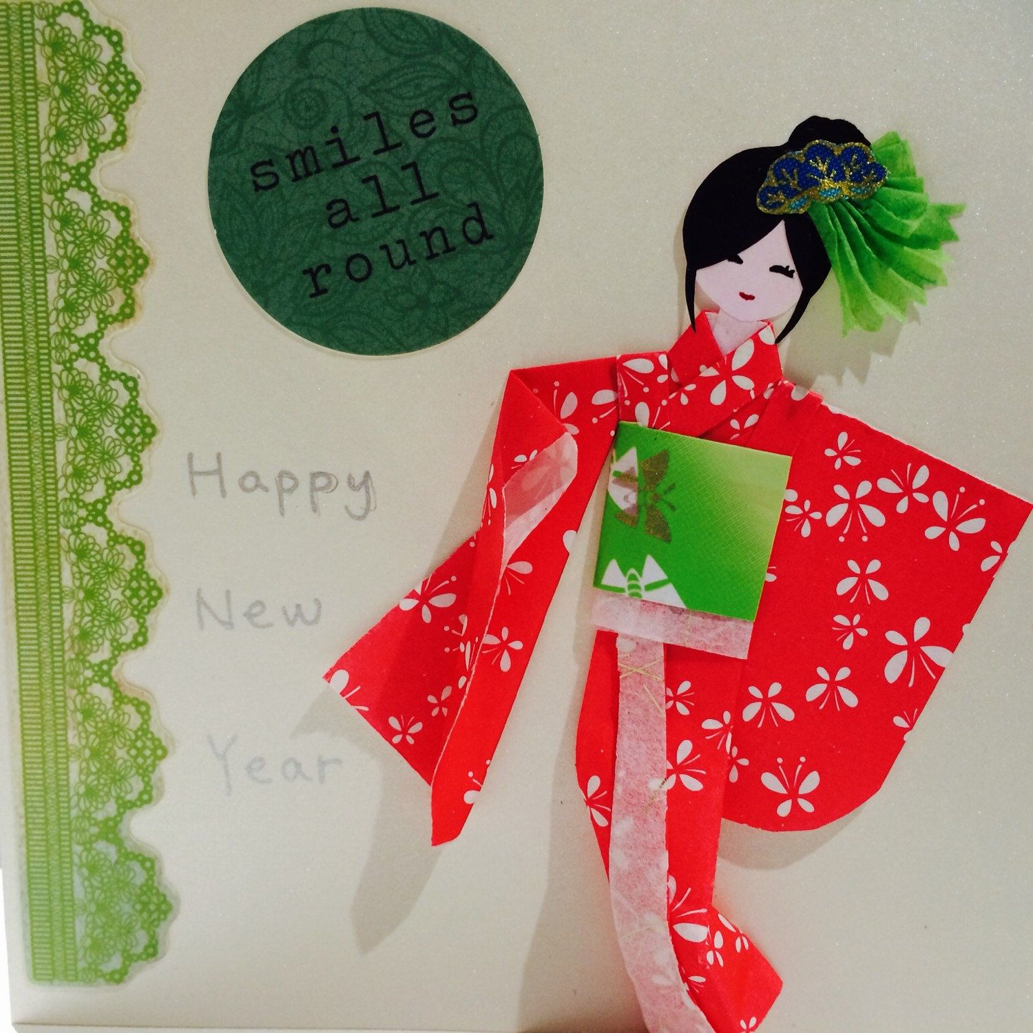 This Is A New Year Greeting Card With An Adorable Japanese Paper