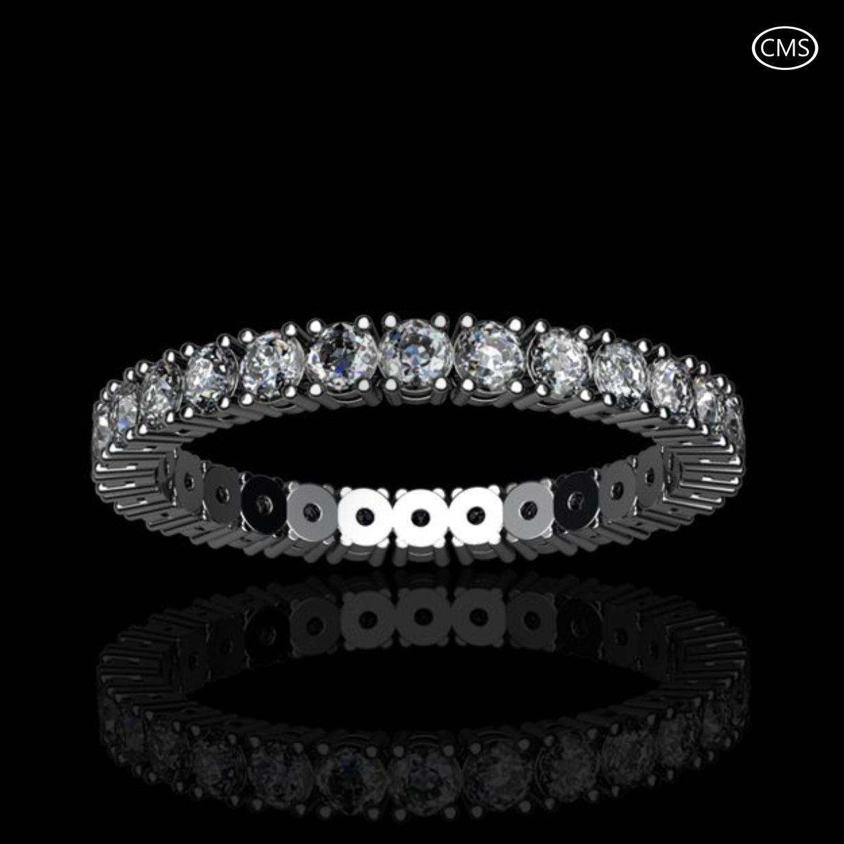 Diamond Ring 1.12cts. Wedding ring in platinum, with 28 round brilliant cut diamonds a total of 1.12cts in a twin peg setting. Width 2.8mm and 1.7mm deep.