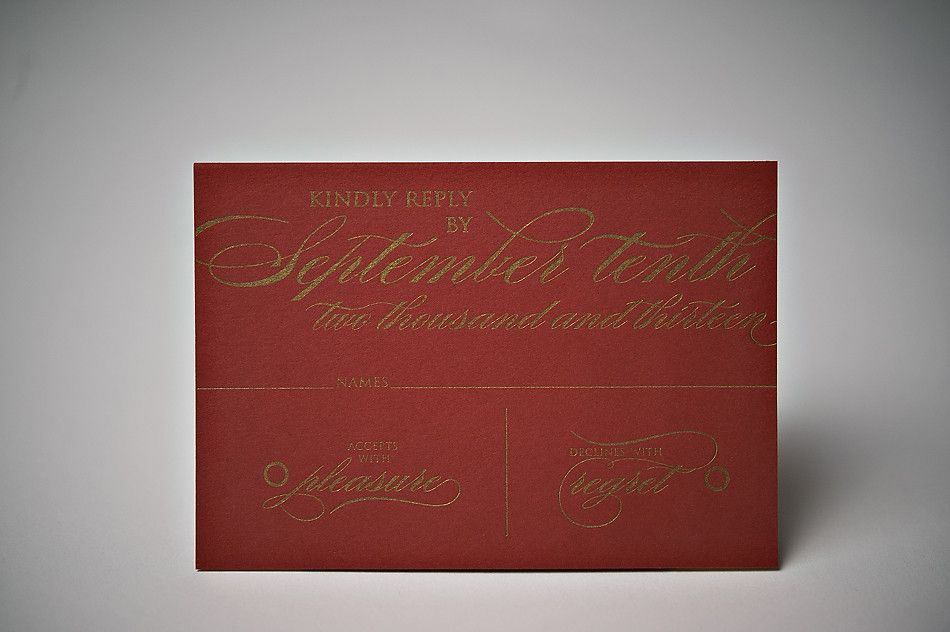 Red and gold letterpress wedding invitations love