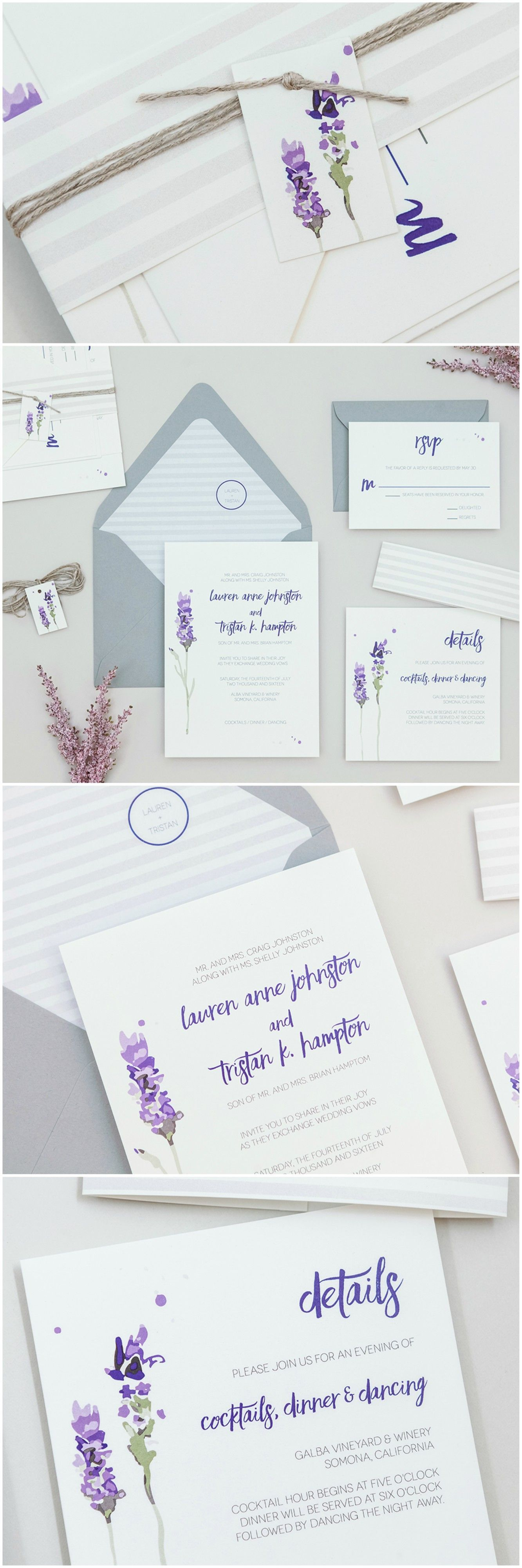 Modern Rustic Lavender Wedding Invitations by Bsigns Paper