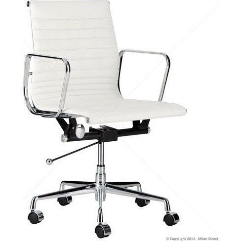 Replica Eames Genuine Leather Office Chair In White Office Chair Stylish Office Chairs Cheap Office Chairs
