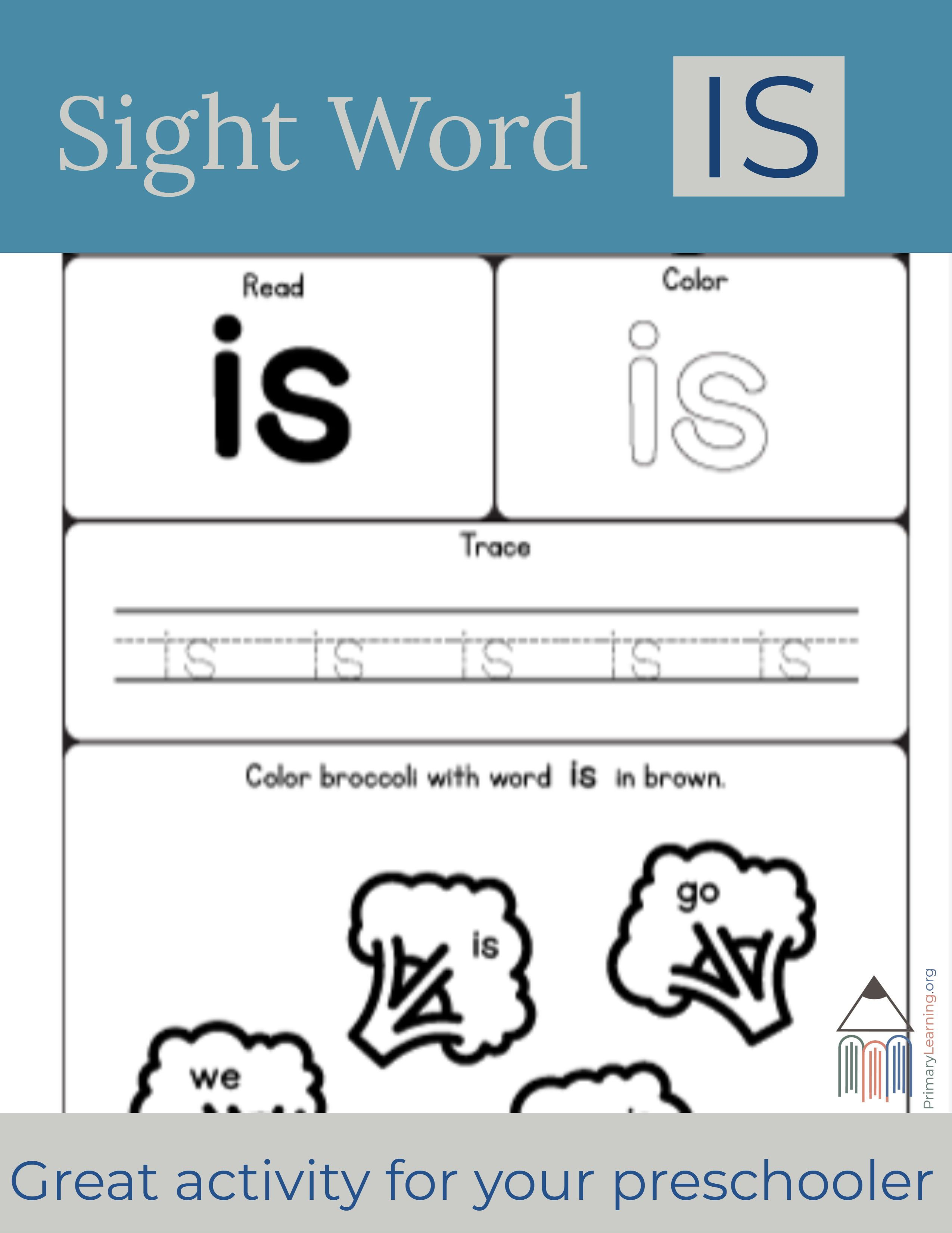 Sight Word Is Worksheet