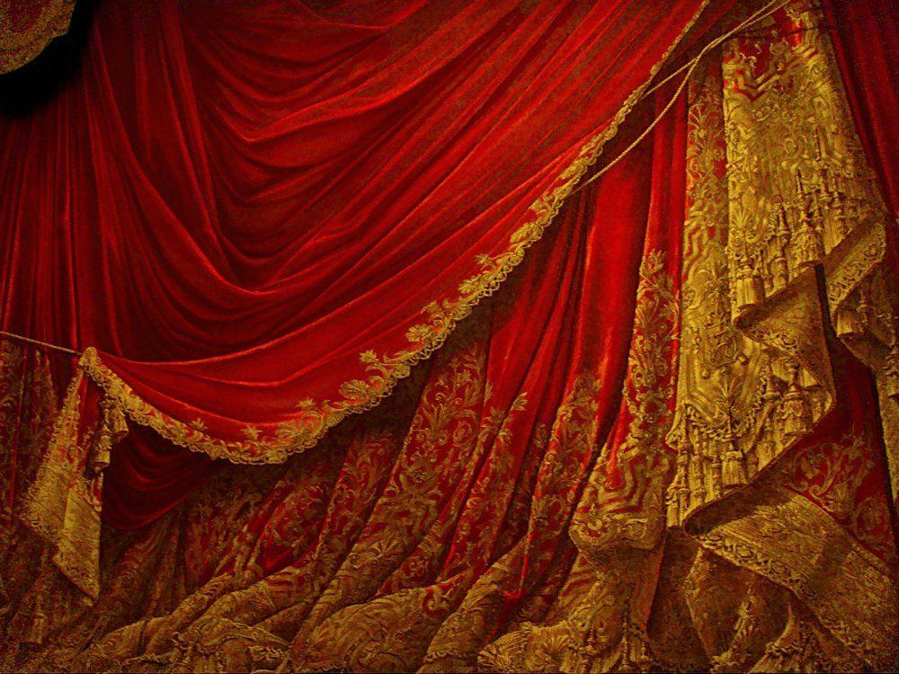 Картинка театральные шторы и цветы