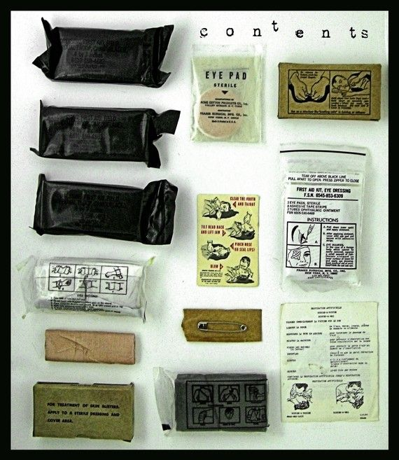 Vintage Us Army Medical Supply Kit Vietnam War Artifact Original Contents Early 60s Medical Supplies Survival Items Kit