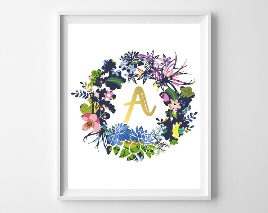 Apparently, you all love printable initial art. Which is exactly why we're friends :). Today, I'm sharing pretty wreath and gold initial designs that are perfect for a gift, or eve…