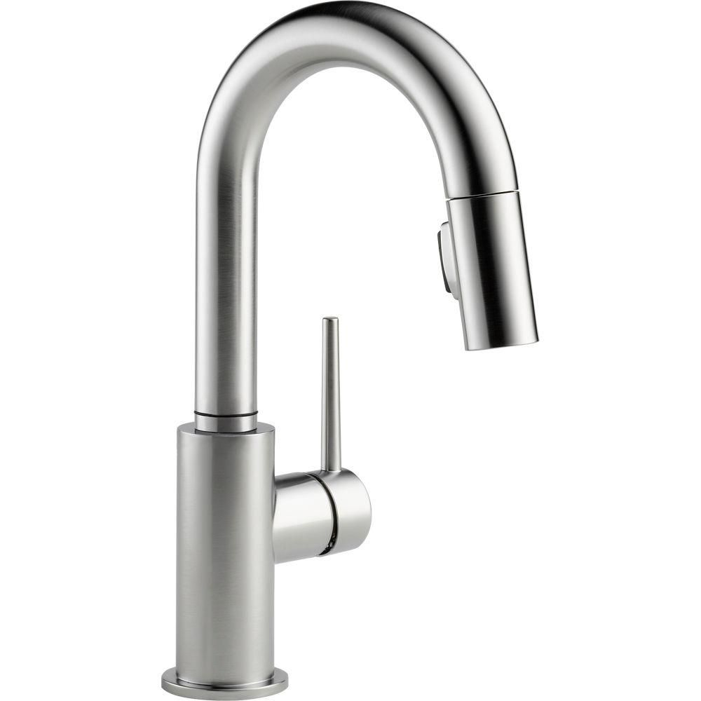 delta trinsic single handle pull down sprayer bar faucet with rh pinterest com