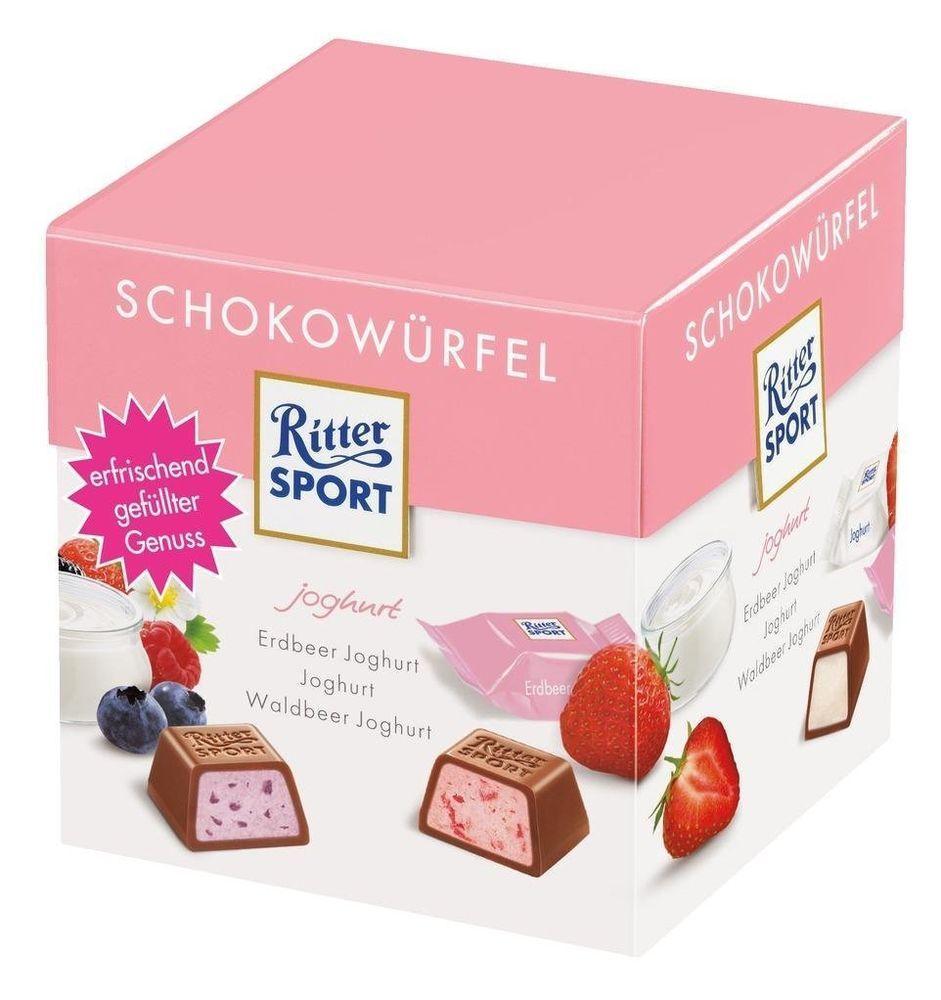 2 x 176g Ritter Sport Chocolate Cubes Yogurt Strawberry