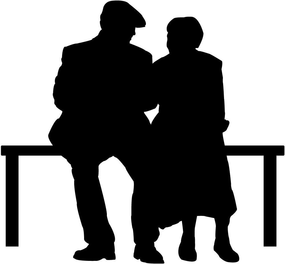 Elderly Couple Park Bench Wall Decal Silhouette People Silhouette Couple Silhouette