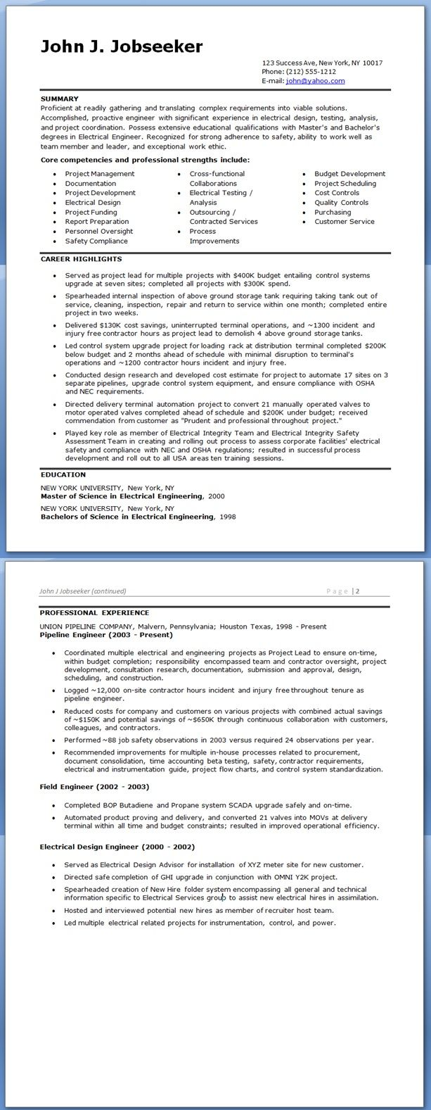 Electrical Engineer Resume Sample Doc (Experienced) | LIBROS ...