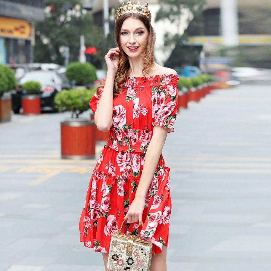 3eea2450a58d9 Sweety Women Dresses 2018 Summer Runway Shirred Red Rose Print ...