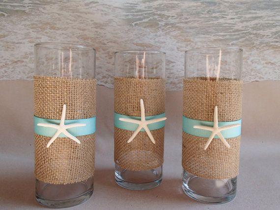 Set of starfish burlap beach vase by paradisebridal on