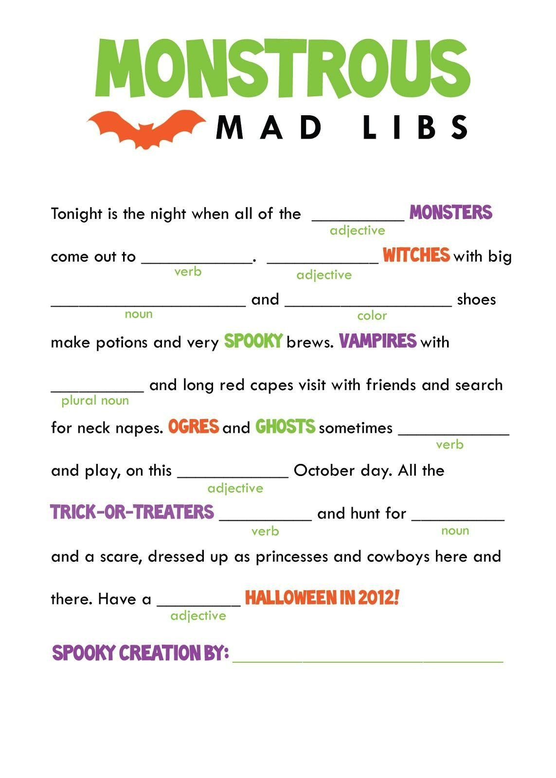 5th Grade Halloween Worksheets Kids Mad Libs Printable
