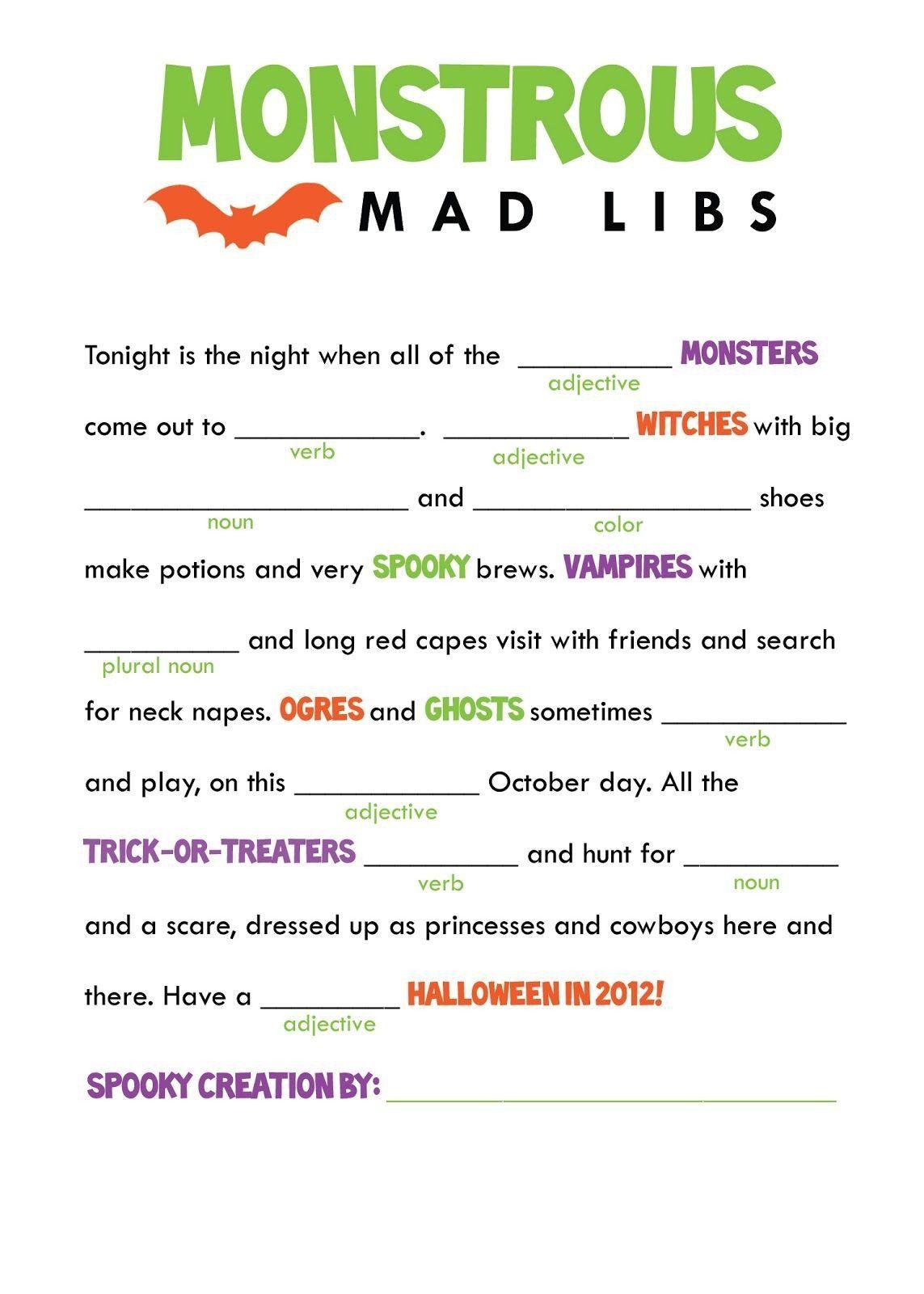 5th Grade Halloween Worksheets Kids Mad Libs Printable