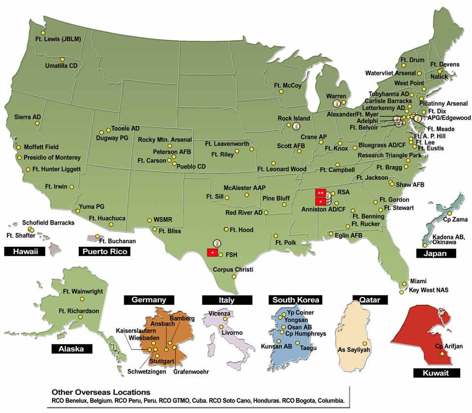 about blank map map of us army installations us army bases ...