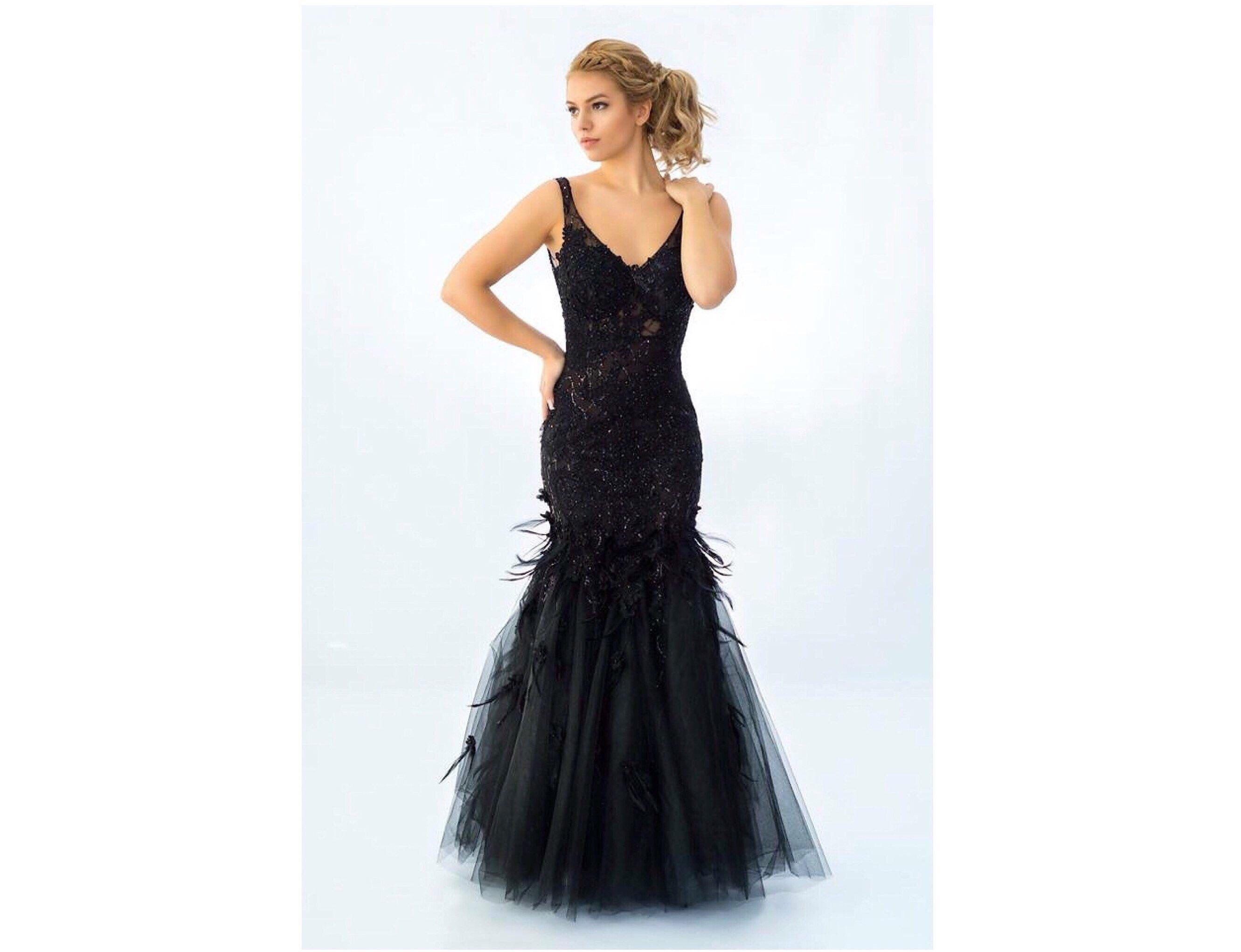 Black Gown Prom Dress Black Dress With Beaded Lace And Etsy Black Prom Dresses Dresses Black Gown [ 2041 x 2661 Pixel ]
