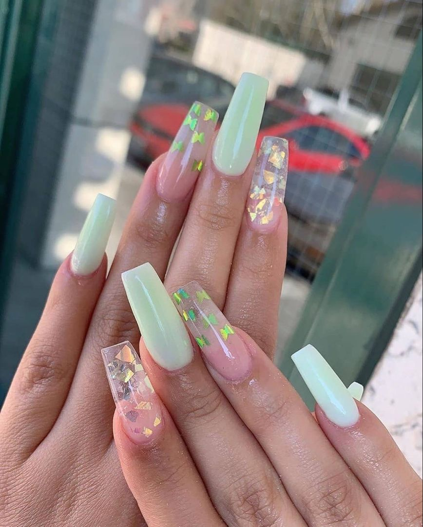 Greennails Acrylicnails Coffinnails Acrylicnailscoffin Butterfly In 2020 Green Acrylic Nails Mint Acrylic Nails Pretty Acrylic Nails