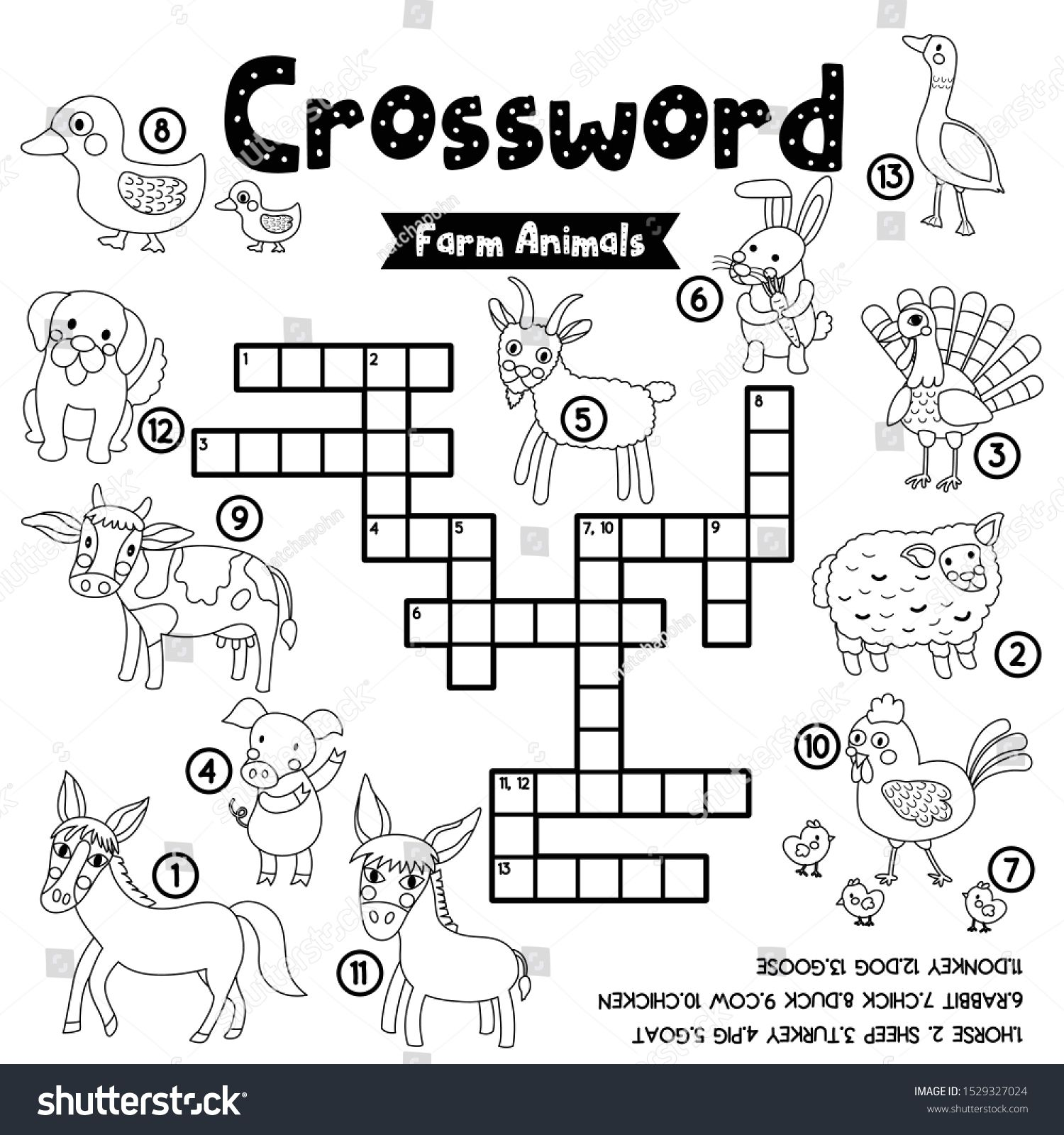 Crosswords Puzzle Game Of Farm Animals For Preschool Kids