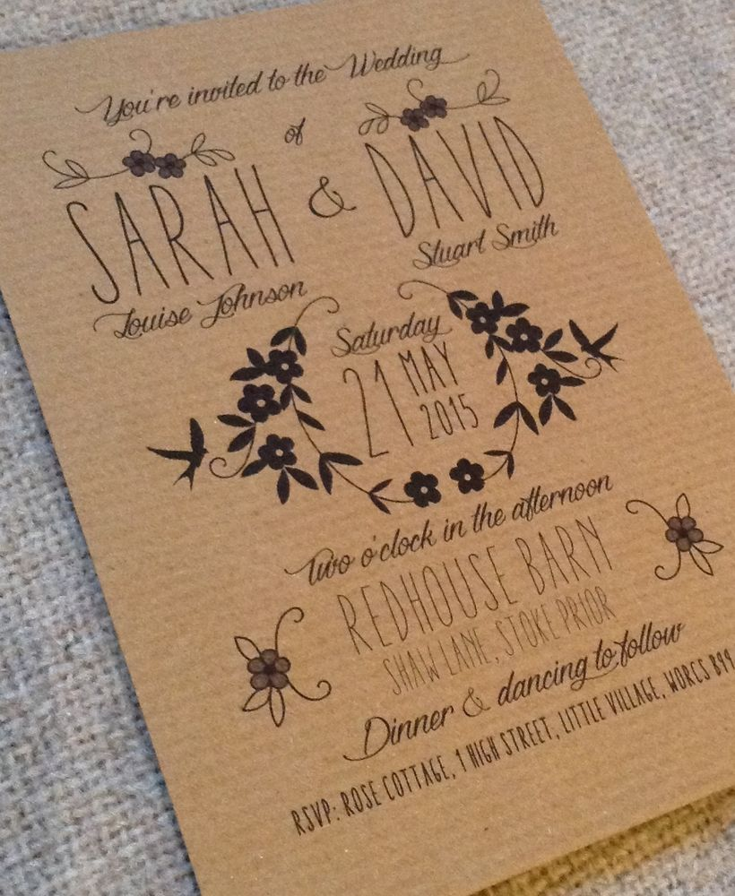 vintage wedding invitation text%0A Personalised wedding invitations Rustic Vintage Kraft Brown Floral Shabby  Chic wedding invitations
