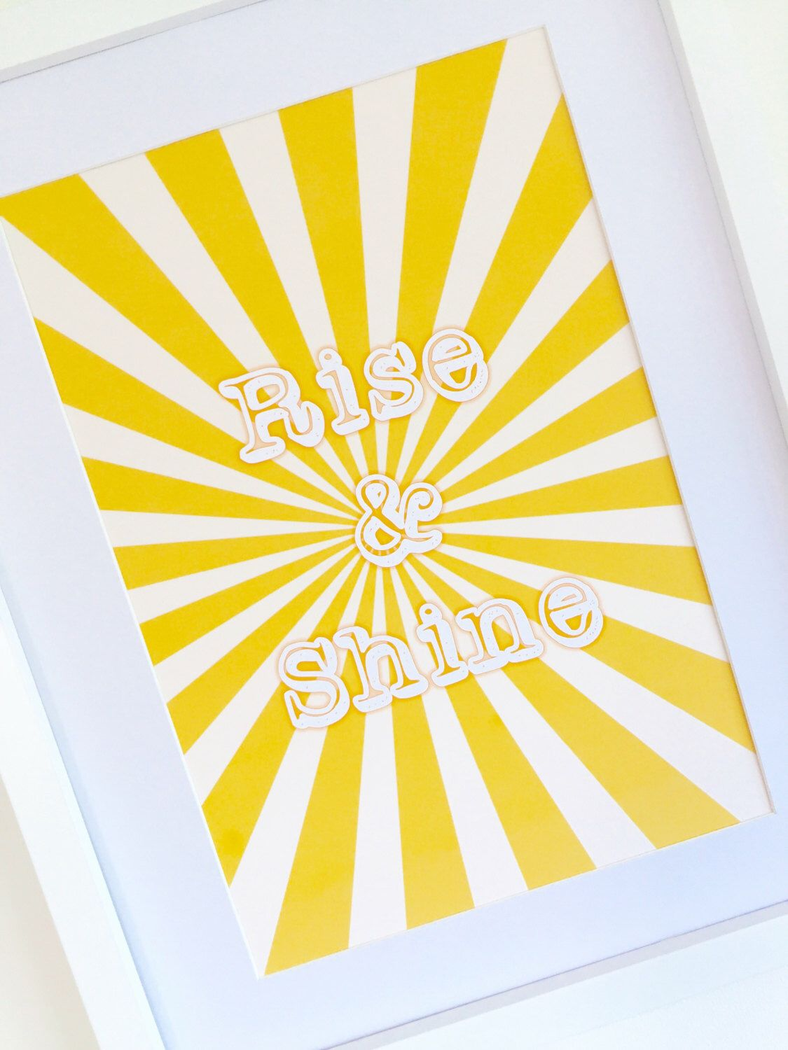 Rise and Shine Poster, Sunshine Yellow Striped Quote Print, Wall ...
