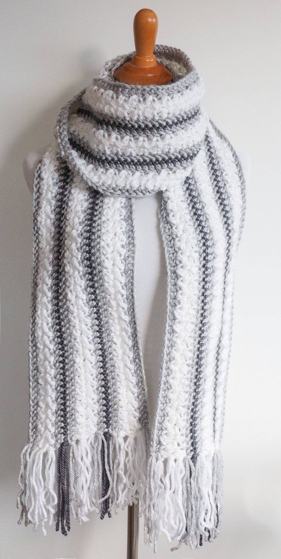 Chunky Yarn Scarf Crochet Pattern | Striped Scarf Pattern | Women\'s ...