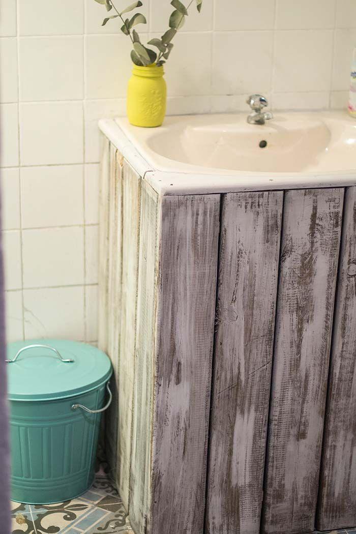 Lavabo encastrado mueble palets dys con pales y cajas for Baldas para bajo lavabo