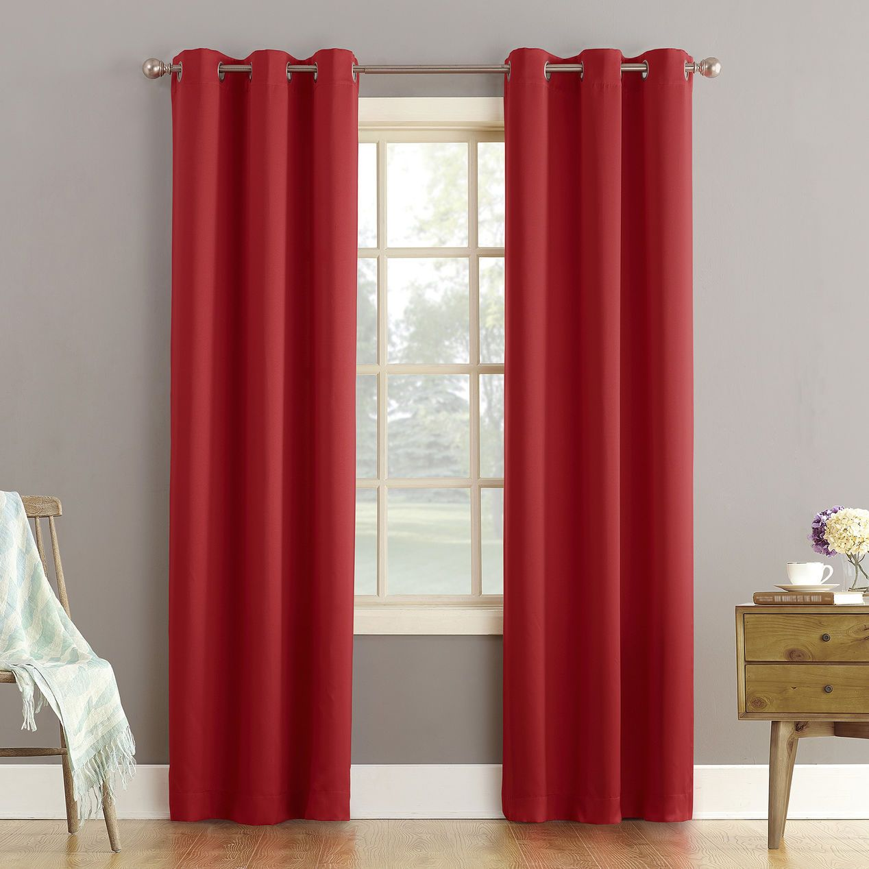 Red Talita Grommet Panel At Home Panel Curtains Grommet