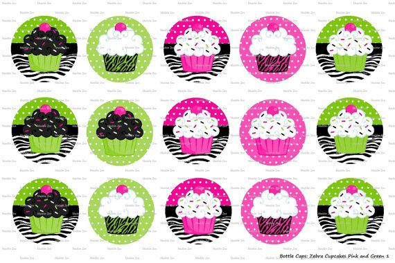15 Zebra Cupcakes Pink & Green  Digital Download for by MaddieZee, $1.25