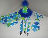 Baby Boy Toddler First Birthday Diaper Cover, Tie & Party Hat -- MM Aqua Disco Dots  Photo Prop. $40.00, via Etsy.