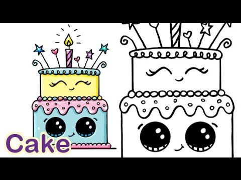 How To Draw A Cartoon Birthday Celebration Cake Cute And Easy Kawaii Drawings Doodle Drawings Cute Drawings