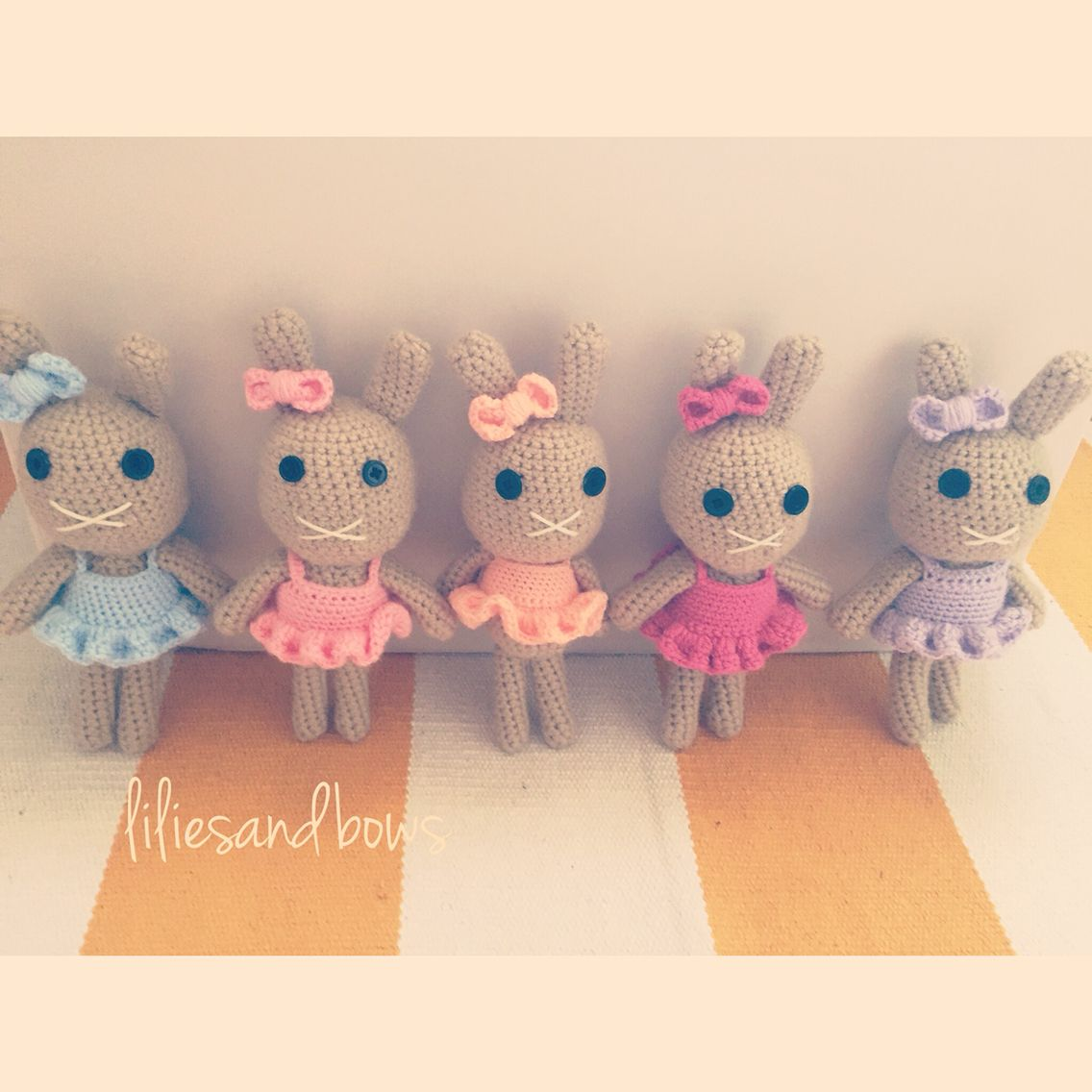 Handmade bunny dolls by lilies and bows
