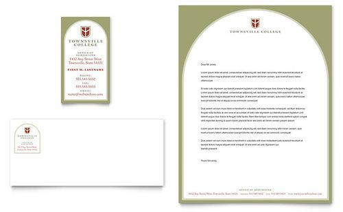 College  University Business Card  Letterhead Template