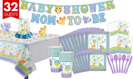 Welcome Baby Woodland Premium Shower Kit For 32 Guests Party City