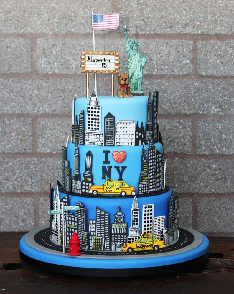 Tremendous I Love New York Themed Birthday Cake Nyc Cake Dad Birthday Funny Birthday Cards Online Sheoxdamsfinfo
