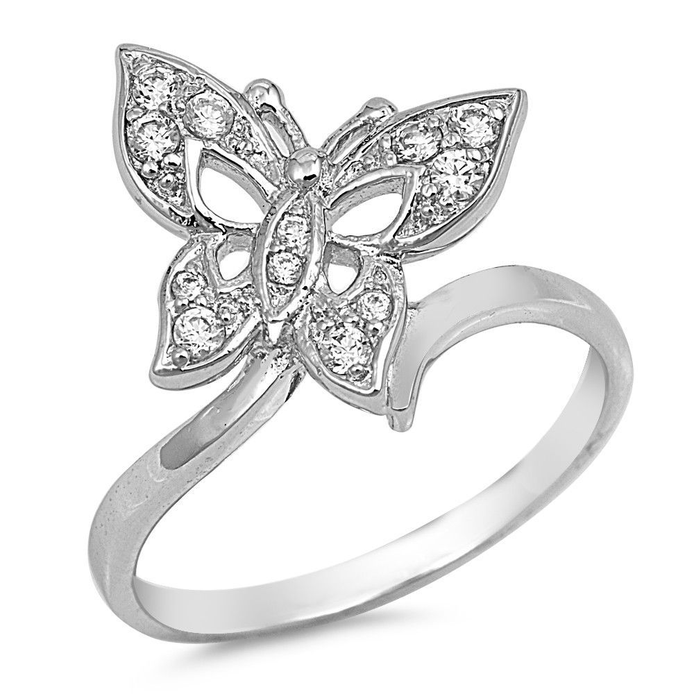 Sterling Silver CZ Simulated Diamond Butterfly Ring 17MM