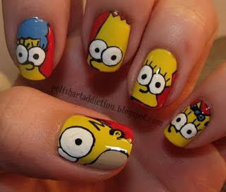 Fantastic Funny Simpsons Nails I Would Totally Do This With - Spongebob nail decals