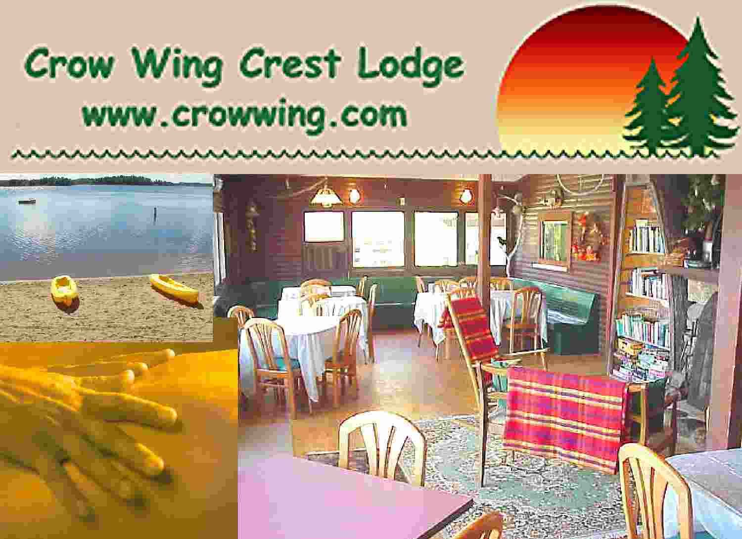Crow Wing Crest Lodge, a fun family vacation resort in northern MN, with 19 cabins, 2 campsites and historic lodge. Fishin', Reflexology, Drum Circles, Big Beach and Kids Activites . . .