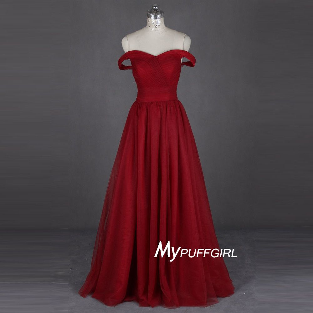 Wine Red Off The Shoulder Prom Dress ,Formal Gown With Ruched Bodice ...