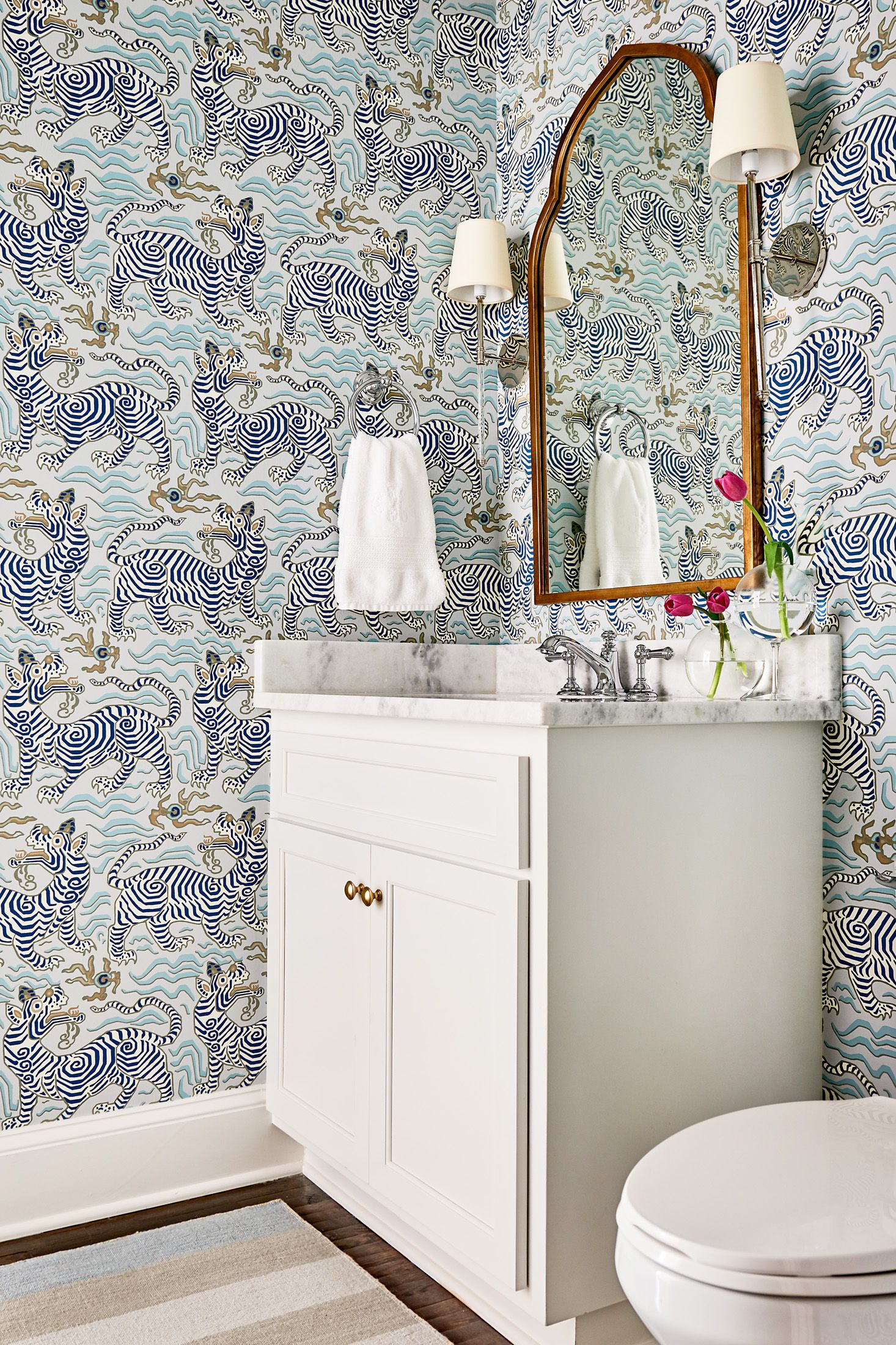 kate h design blue and white powder room with clarence house rh pinterest com