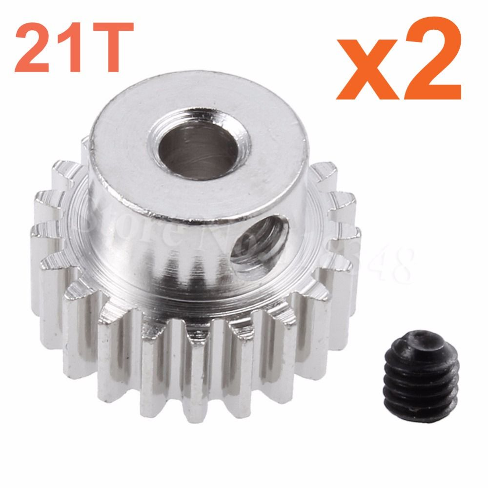 Cheapest 2pcs/lot Motor Gear 21T 0 6 Pitch Pinion Steel For