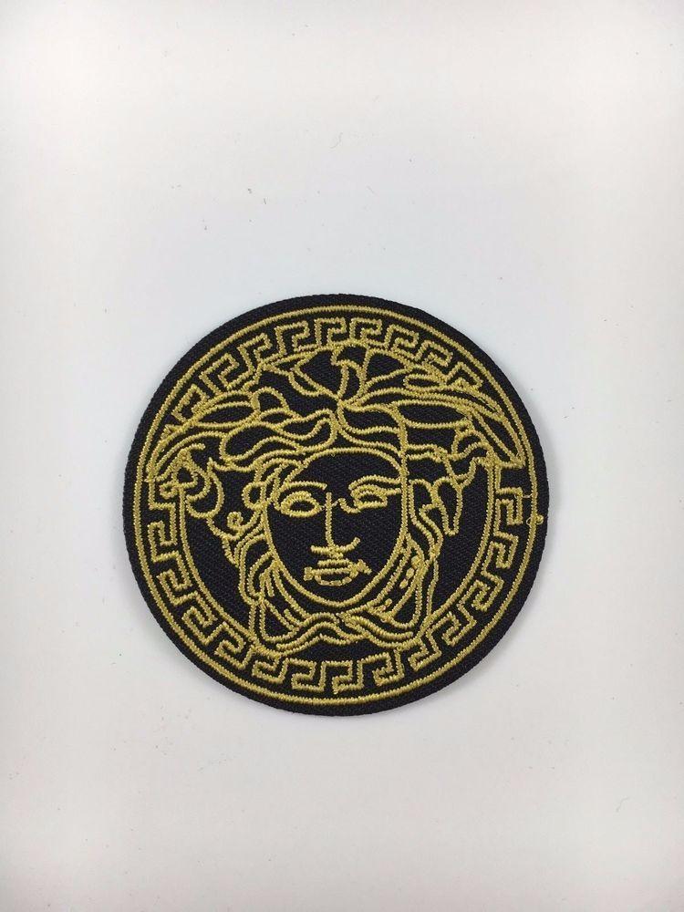 "Sew On Patch 2.5/"" black VINTAGE MEDUSA LOGO Embroidered Iron On"