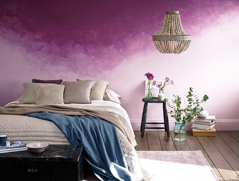 Waterperry Ombre Paint Effect Pink Purple Bedroom Grey