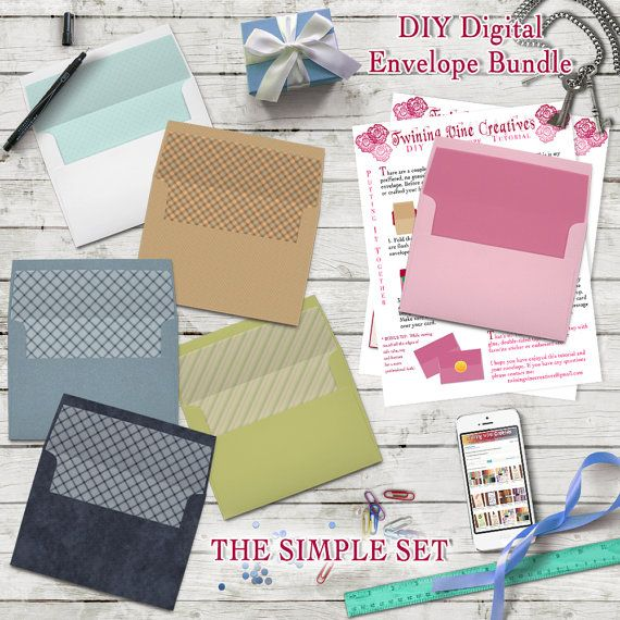 Diy Envelope Template A7 5x7 Digital Bundle Set