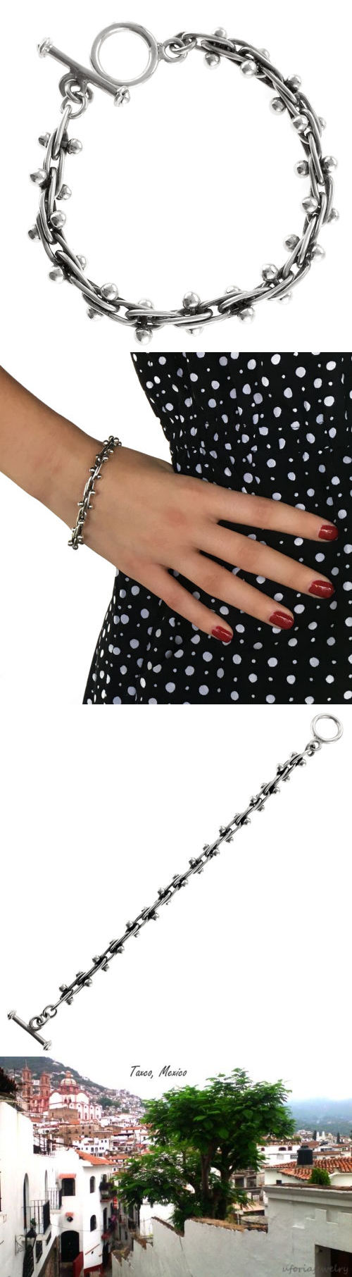 Bracelets 98489: 925 Vintage Design Berries Bracelet | Taxco Mexico Sterling Silver Jewelry BUY IT NOW ONLY: $89.95