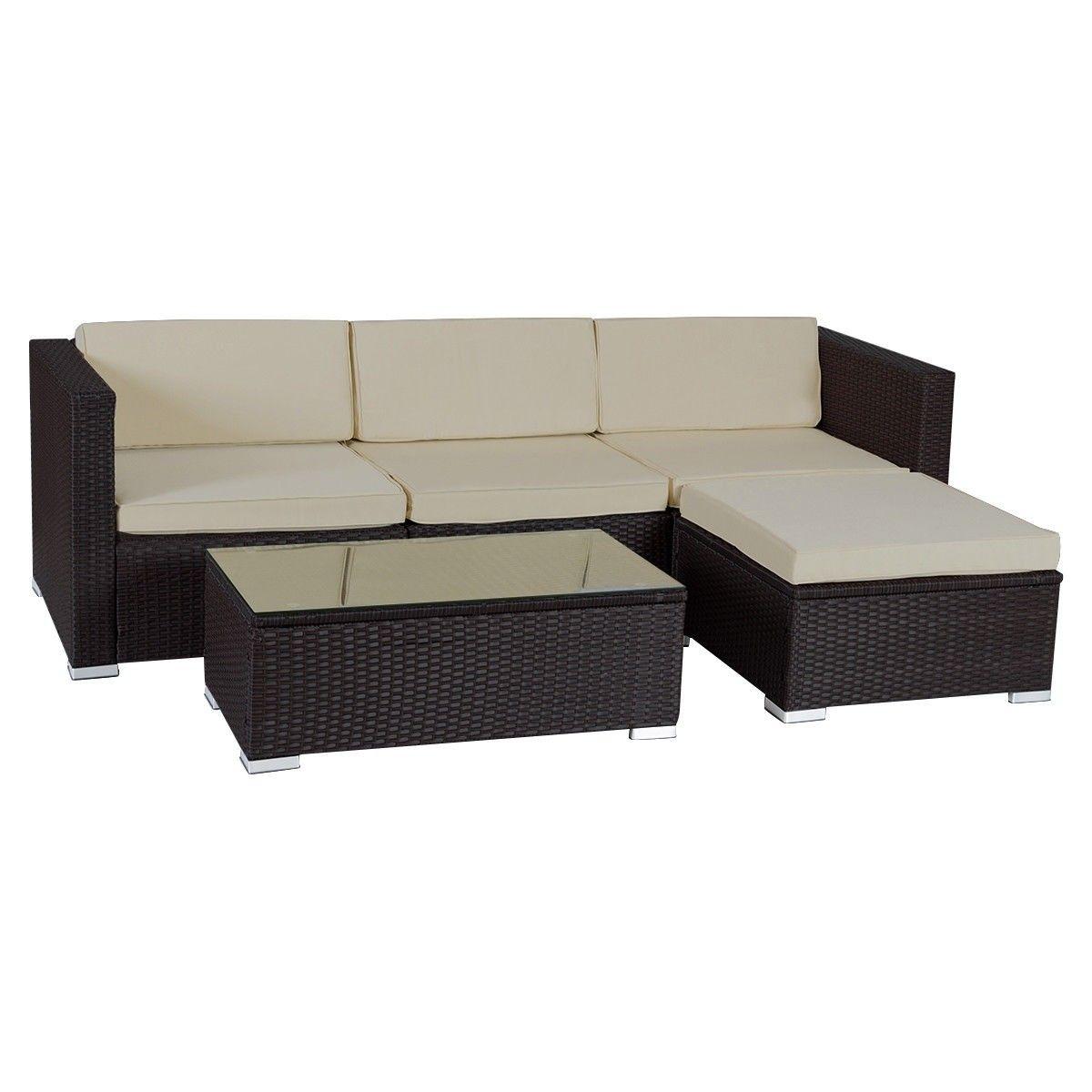 details about 4 pc sectional rattan wicker sofa set patio garden rh pinterest com